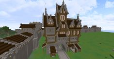Fantasy-style Minecraft house with an arch in the middle.