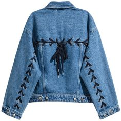 Denim jacket with lacing $89.99 ($90) ❤ liked on Polyvore featuring outerwear, jackets, blue denim jacket, flap jacket, denim jacket, button jacket and short denim jacket