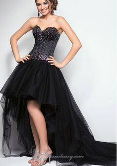 Stunning Black High-low Shining Beaded Bodice Tulle Skirt Prom / Military balls / Formal Dresses Bl Style 9613