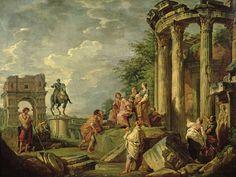 'Peasants Amongst Roman Ruins' by Giovanni Paolo Pannini