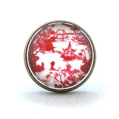 10 SALE  Ring Chinese Paper Cutting Landscape Red by timegemstone, £6.59