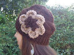 Womens Hats Knit Hats, Flower Hat Woman,Knit Hat Women Winter Hat Woman, Womens Knit Hats, Knit Womens Hats, Knit Adult Hat Beanie Hat. $19.50, via Etsy.