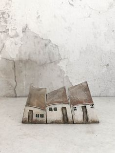 Ceramic and wooden houses, home decor, unique gift by VesnaGusmanArt Clay Houses, Ceramic Houses, Miniature Houses, Wooden Houses, Ceramic Pottery, Pottery Art, Ceramic Art, Ceramic Beads, Pottery Houses