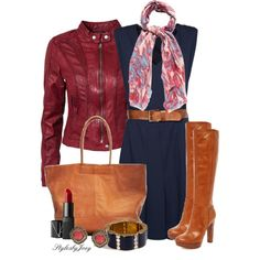 """""""Devil with a Blue Dress and Red Leather Jacket"""" by stylesbyjoey on Polyvore"""
