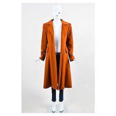 Pre-Owned Vintage Hermes Burnt Orange Cashmere Flared Long Overcoat Sz... (£745) ❤ liked on Polyvore featuring outerwear, coats, orange, vintage cashmere coat, wool cashmere coat, cashmere overcoat, long overcoat and flared coat