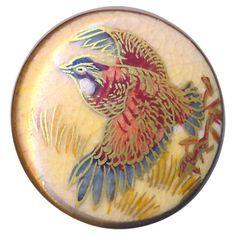 Button-Medium-Vintage-Satsuma-Pottery-Ruffled-Grouse-in-Flight