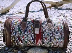 FREE SHIPPING, Weekender bag, Large leather bag, Boho bag, Moroccan Leather, Gypsy, Hippy, Kilim, Weekender bag, Overnight bag, Duffle bag