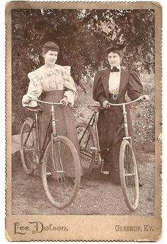 Two circa 1895 Women dressed to ride Safety Bicycles, Greenup, KY.