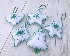 Handmade felt Christmas decoration, hanging decor, Scandinavian/Nordic inspired, set of 5 ornaments Handmade Christmas Decorations, Felt Decorations, Felt Christmas Ornaments, Diy Ornaments, Beaded Ornaments, Christmas Christmas, Felt Crafts, Holiday Crafts, Christmas Tree Inspiration