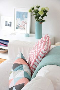 Pastels | love the mix of salmon pink, blue, and grey