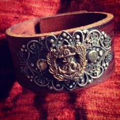 Vintage Naval Pin on Distressed Leather Cuff by LuckyGirlEleven, $65.00