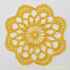 Y E L L O W ♡ Free Crochet Doily Patterns, Crochet Earrings Pattern, Crochet Cardigan Pattern, Crochet Motif, Crochet Stitches, Lace Doilies, Crochet Doilies, Crochet Flowers, Doily Wedding