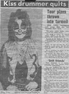 Peter Criss quits KISS - 1980 news article.