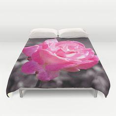 Single Pink Rose Duvet Cover by Lynn Bolt - $99.00