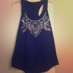 Studded Rock & Republic Racerback Tank Studded tank top in EXCELLENT condition. All embellishment is perfect, nothing is missing. Fits a small to medium size. Rock & Republic Tops Tank Tops