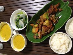 豚の野菜炒め&ストーブで作ったカボチャスープ&大根と小松菜の煮浸し