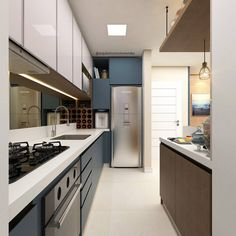 21 Modern Kitchen Area Concepts Every House Prepare Needs to See Narrow Kitchen, Compact Kitchen, Kitchen Interior, Kitchen Decor, Kitchen Flooring, Kitchen Cabinets, Modern Kitchen Design, Small Apartments, Interiores Design