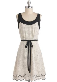 Acoustic Crooner Dress - Black, Casual, Sleeveless, Sheer, Mid-length, Scallops, Belted, A-line, Print, White
