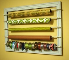 DIY Wall Organizer For Wrapping Paper And Ribbons