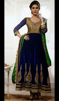 Deep Blue Velvet Anarkali Salwar Kameez Price: Usa Dollar $159, British UK Pound £93, Euro117, Canada CA$171 , Indian Rs8586.