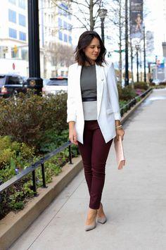 White Blazer and peplum top outfit - @mystylevita