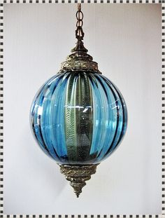 Vintage Mid Century Blue Glass Optical Eames Era Hanging Swag Lamp