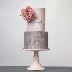 Crackled marbled // grey and pink Elegant Wedding Cakes, Wedding Cake Designs, Gorgeous Cakes, Pretty Cakes, Fondant Cakes, Cupcake Cakes, Cupcakes, Wood Cake, Cakes For Women