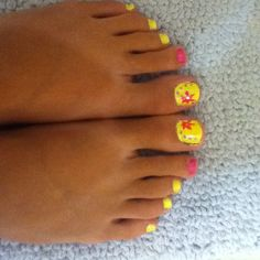 Yellow pink flower toenails