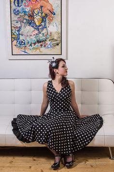 Polkadots Vee Dress $80.00 - Simple Black Petticoat - Sugar Headband with Feathers