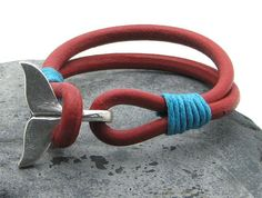 Men's leather bracelet . Red leather multi strap por eliziatelye