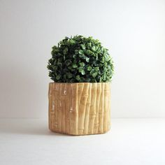 Vintage Ceramic Bamboo Planter  Neutral Home Decor  by LastCentury, $24.00