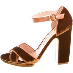 Rupert Sanderson Evelyn Platform Sandals ($225) ❤ liked on Polyvore featuring shoes, sandals, brown, brown block heel sandals, block heel shoes, ankle wrap sandals, brown platform sandals and velvet shoes