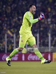 Colombia's goalkeeper David Ospina reacts at the end of the Copa America football match, at the Estadio Monumental David Arellano in Santiago, Chile, on June 17, 2015. AFP PHOTO / LUIS ACOSTA