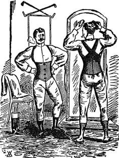 Advertisement of corsets for men, 1893    That gentleman on the left is STYLIN' in his corset!