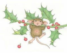 """""""Have a holly, jolly holiday!"""" from House-Mouse Designs House Mouse Stamps, Mouse Pictures, Mouse Color, Christmas Crafts, Christmas Ornaments, Prim Christmas, Christmas Animals, Jolly Holiday, Cute Mouse"""