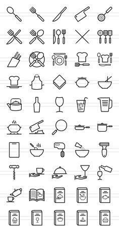 50 Kitchen Line Icons #Chinese#Sticks#Cutter#Cutlery