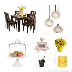 Home Idea Featuring Homelegance Dining Table Contemporary Modern Lighting Martha Stewart Serveware And Wire Cupcake Stand From August 2016 #home #decor