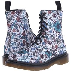 Dr. Martens Page Wanderlust 8-Eye Boot (Off-White Wanderlust T Canvas)... ($100) ❤ liked on Polyvore featuring shoes, boots, laced up boots, canvas lace up boots, laced boots, platform shoes and floral boots