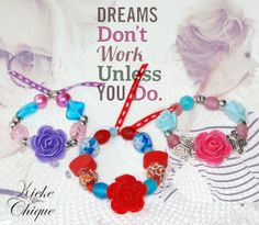 Bracelet 'Daydreamer' with a purle, pink or red flower made with love by Kieke le Chique x