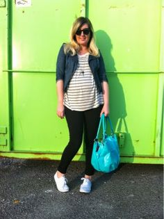 Highs and Lows | Liv.vie In Love Denim Moto Jacket, Striped Top, Black Leggings, White Sneakers, Bright Turquoise Bag, Spiked Pendant, and Sunglasses. Maternity style, maternity fashion, pregnancy style, pregnancy fashion, baby bump style, baby bump, 27 weeks, ootd, wiwt, blogger, fashion stylist