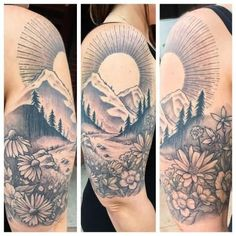 Amazing Mountains With Flowers And Sun Tattoo On Half Sleeve
