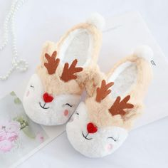 Plush Reindeer Slippers from Apollo Box Soft Slippers, Winter Slippers, Cute Slippers, Acorn Kids, Apollo Box, Bedroom Slippers, Elephant Birthday, Christmas Stocking Stuffers, Gifts For Boss