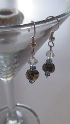 Crystal Bicone & Smoke Round Earrings by leraybear on Etsy, $14.00