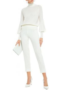 ANTONIO BERARDI ANTONIO BERARDI WOMAN CREPE SLIM-LEG PANTS WHITE. #antonioberardi #cloth Antonio Berardi, Slim Legs, Jumpsuit, Pants, Collection, Shopping, Dresses, Women, Style