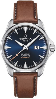 Certina: DS Action Big Date Automatic mit Lederband Swatch, Leather Buckle, Cow Leather, Sport Watches, Watches For Men, Men's Watches, Dress Watches, Swiss Made Watches, Mechanical Watch