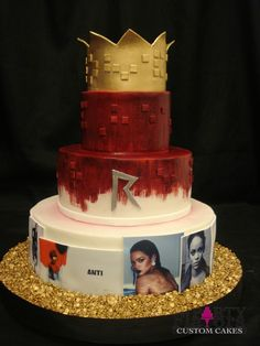 A birthday cake truly worthy of Rhianna herself. Buttercream base base, hand painted red with red fondant squares, edible images of Rhianna with small fondant coins on board and topped with a fondant crown. By Party Flavors Custom Cakes