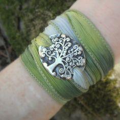 Silk Ribbon Wrap Bracelet, Tree of Life Bracelet- Artisan Handcrafted- Recycled Fine Silver- Silver & Silk Wrap Bracelet