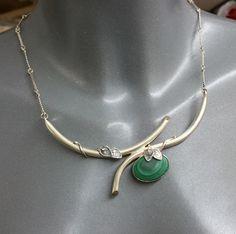 Vintage Halsschmuck - Silber 925 Design Halskette Malachit Unikat SK497 - ein…