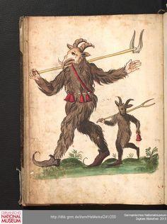 Merkel Hs 2° 241  Schembartbuch [o.O.]: 1551/1600 Illustration: Schembartläufer mit Geißbockkopf