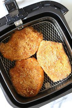 Best Air Fryer Pork Chops Recipe How To Make Pork Chops . Crispy Keto Parmesan Crusted Pork Chops In The Air Fryer . Crispy Keto Parmesan Crusted Pork Chops In The Air Fryer . Home and Family Nuwave Air Fryer, Air Fryer Pork Chops, Air Fryer Recipes Pork Chops, Oven Fryer, Breaded Pork Chops, Boneless Pork Chops, Breaded Tilapia, Pork Loin, Pork Ribs